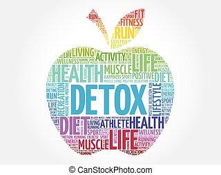 detox, pomme, coloré