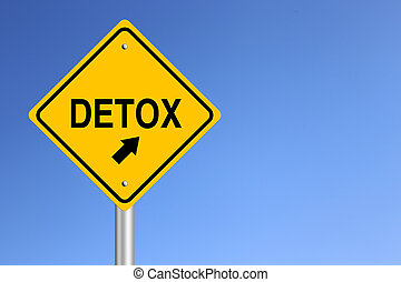 Detox Road Sign with clear blue sky background.