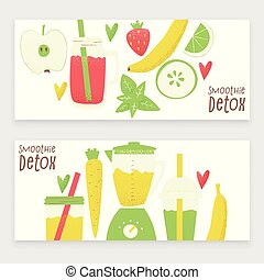 Detox smoothie, vector colorful concept, cartoon style ...