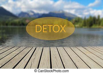 detox text, mountain lake in the background