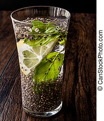 Detox Water with Chia Seeds, mint leaves and lemon.