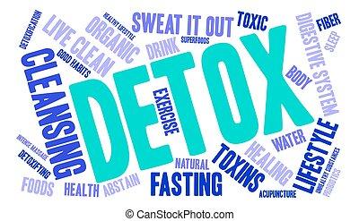 detoxicatie, woord, wolk