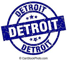 Detroit blue round grunge stamp