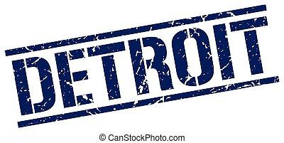 Detroit blue square stamp