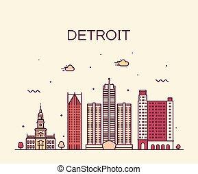 Detroit city skyline Michigan USA vector line city - Detroit...