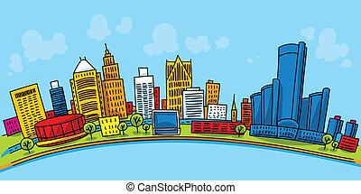 Detroit Downtown - Cartoon skyline of downtown Detroit, ...