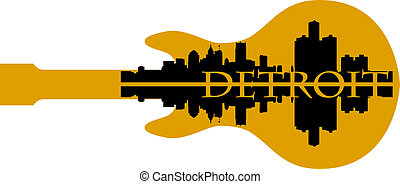 Detroit g - City of Detroit high-rise buildings skyline with...