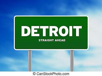 Detroit Highway Sign - Green Detroit, Michigan, USA highway...