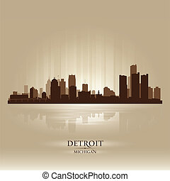Detroit Michigan city skyline silhouette. Vector ...