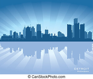 Detroit, Michigan skyline illustration with reflection in ...