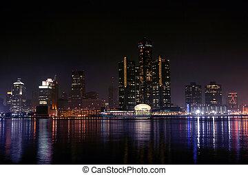Detroit, Michigan - view of Detroit skyline at night,...
