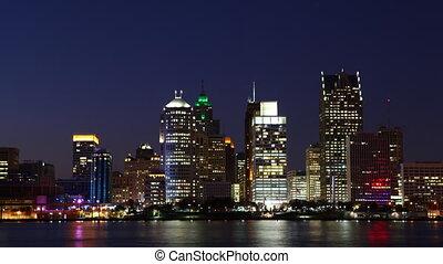 Detroit,  michigan,  Timelapse,  Skyline, Nacht