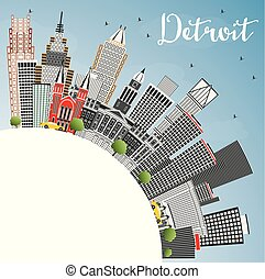 Detroit Michigan USA City Skyline with Gray Buildings, Blue Sky and Copy Space.