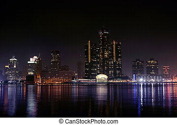 Detroit, Michigan - view of Detroit skyline at night, ...