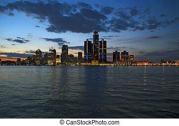 Detroit Night or Sunset Shot 2015 - Dusk or evening shot of...