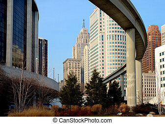 Detroit Rail Transit - Downtown Detroit monorail mas transit...