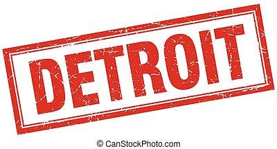 Detroit red square grunge stamp on white