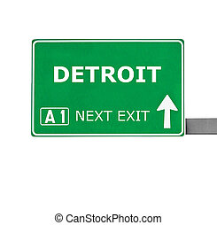 DETROIT road sign isolated on white