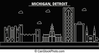 Detroit silhouette skyline. USA - Detroit vector city, american linear architecture, buildings. Detroit travel illustration, outline landmarks. USA flat icon, american line banner