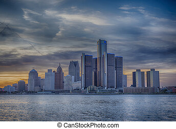 Detroit skyline at sunset - A view of Detroit skyline at...