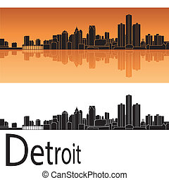 Detroit skyline in orange background in editable vector file