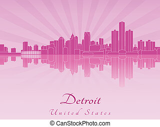 Detroit skyline in purple radiant orchid in editable vector file