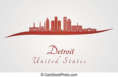 Detroit skyline in red and gray background in editable...