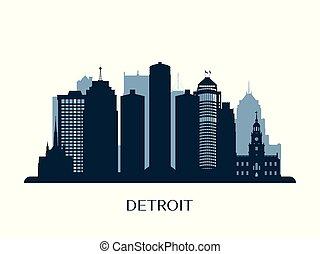 Detroit skyline, monochrome silhouette. Vector illustration.