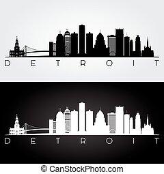 Detroit skyline silhouette - Detroit USA skyline and...