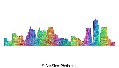 Detroit skyline silhouette - multicolor line art