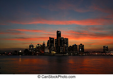 Detroit Skyline - The Detroit skyline from the Canadian side...