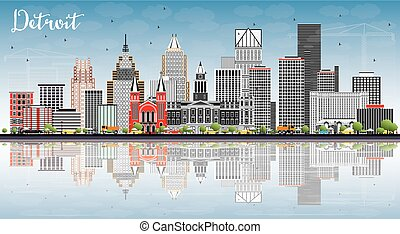 Detroit Skyline with Gray Buildings, Blue Sky and Reflections.