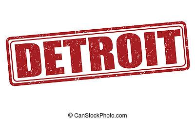 Detroit stamp - Detroit grunge rubber stamp on white...