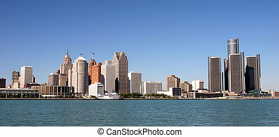 Detroit, USA - view of panorama Detroit skyline from Windsor