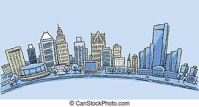 Detroit Waterfront - Cartoon skyline of downtown Detroit,...