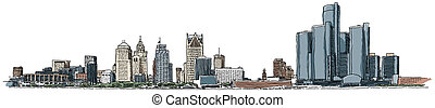 Detroit Waterfront - Illustration of the Detroit waterfront ...