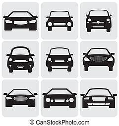 detta, färg, lyxvara, graphic., mot, symboler, sida, kompakt, view-, icons(signs), vektor, främre del, bil, illustration, svart fond, representerar, vit, car's, nio, passenger