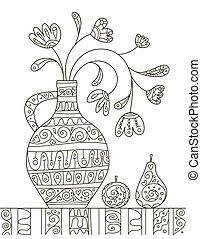 dettagli, decorazione, fruits., bello, bambini, antistress, piccolo, ancora, libro disegno, vita, adults., mano, modello, coloritura, creativity., fiori