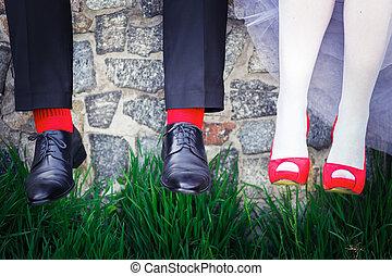 dettagli, rosso, matrimonio