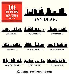 dettagliato, 10, unito, #3, silhouettes., isolato, stati, città, america