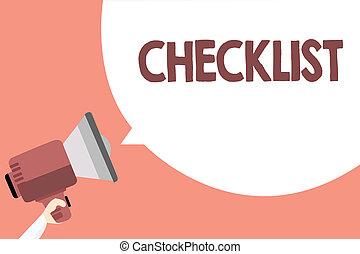 dettagliato, altoparlante, concetto, checklist., forte, bubble., testo, elenco, idea, guida, giù, parlare, significato, discorso, qualcosa, attività, scrittura, megafono, grida, grido, discorso