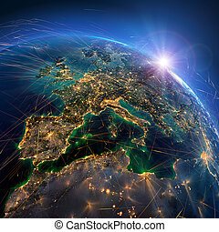 dettagliato, aria, interpretazione, itinerari, europe., earth., 3d