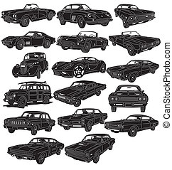 dettagliato, automobili, -, pacchetto