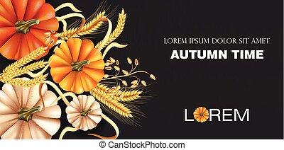 dettagliato, autunno, frumento, sfondi, orecchie, realistic., scuro, vettore, tempo, zucca, design., bandiera, 3d