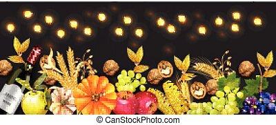 dettagliato, autunno, granaglie, ricco, realistic., zucca, 3d, scuro, luci, vettore, fondo, vino, bandiera, uva, raccogliere, walnuts., design.
