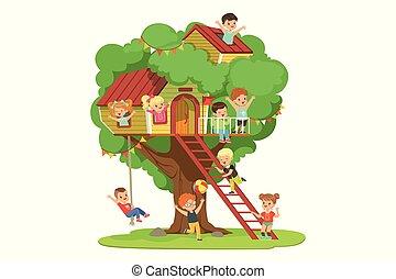 dettagliato, bambini, childrens, colorito, treehouse, illustrazione, detenere, vettore, altalena parco, divertimento, scala