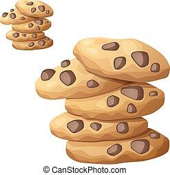 dettagliato, biscotti, choc, ingredienti, cibo, serie, scheggia, bevanda, isolato, fondo., vettore, cooking., 2., bianco, icona