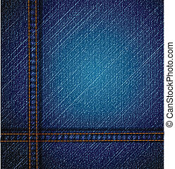 dettagliato, blu, vettore, jeans, texture.