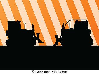 dettagliato, bulldozer, scavatore, luogo, illustrazione, silhouette, vettore, fondo, costruzione, trattore