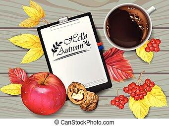 dettagliato, caffè, viste, tazza, mela, progetta, realistic., leaves., pagina, autunno, vettore, cadere, calendario, noci, cima, 3d